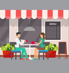 couple drinking tea in outdoors cafe restaurant vector image