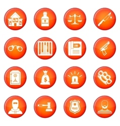 Crime and punishment icons set vector
