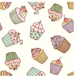 cupcake pastry set vector image
