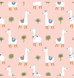 Cute lama farm animal on pink background vector