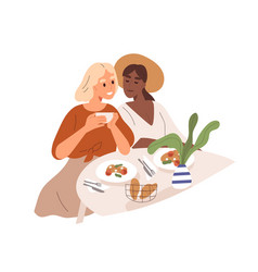Cute multiracial lesbian couple have a date vector
