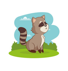 cute raccoon animal with landscape vector image