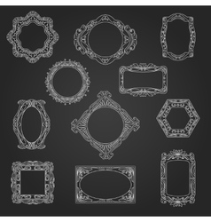 Decorative picture frames on chalkboard vector image