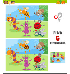 Differences game with insects animal characters vector