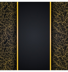 Elegant black background with gold lace ornament vector image