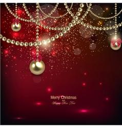 Elegant christmas background with golden baubles vector