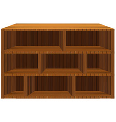 Empty wooden shelves on white vector