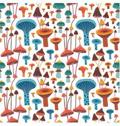 Flat hand drawn forest mushrooms seamless pattern vector