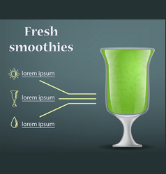 fresh green smoothie concept background realistic vector image