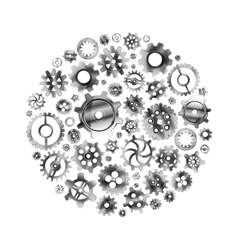 Glossy metal cogwheels arranged in a circle shape vector image