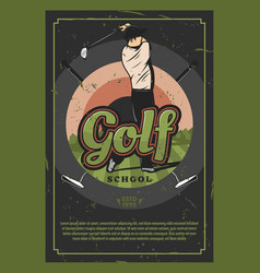 golf sport game retro poster with player on field vector image