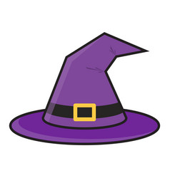 halloween magic witch hat with buckle vector image