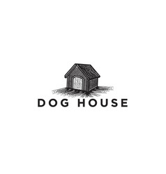 hand drawn dog house logo designs inspiration vector image