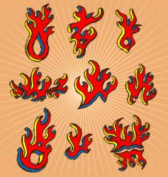 hand-drawn fires vector image