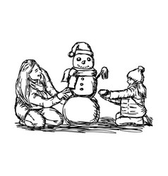 happy mother and her daughter building snowman vector image