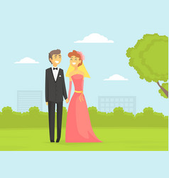 happy newlyweds couple romantic bride and groom vector image