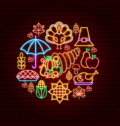 happy thanksgiving day neon concept vector image