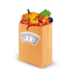 Healthy diet Fresh food in a paper bag vector image