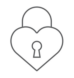 heart lock thin line icon love and padlock love vector image
