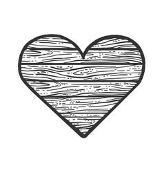 heart wooden symbol sketch vector image