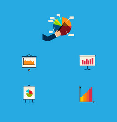 icon flat diagram set of canvas chart easel and vector image