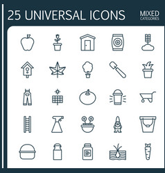 Icons set collection of sun power stairway hang vector