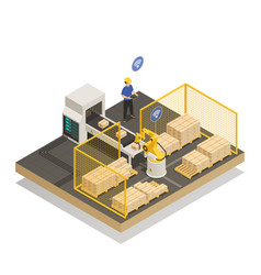 intelligent automated manufacturing isometric vector image
