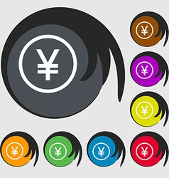 Japanese Yuan icon sign Symbols on eight colored vector