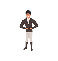 jockey man in costume equestrian professional vector image