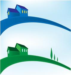 landscape house background vector image vector image
