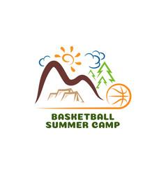 logo basketball summar camp fun cartoon vector image
