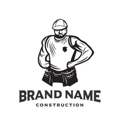 Logo construction workers vector