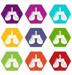 lungs icons set 9 vector image