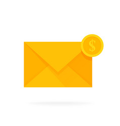 mail envelope icon with dollar coins email send vector image