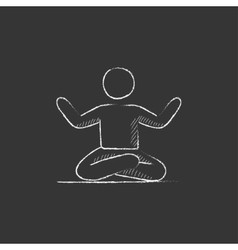 Man meditating in lotus pose Drawn in chalk icon vector
