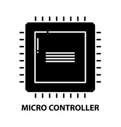 Micro controller icon black sign vector