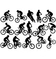 Mountain biker silhouettes vector