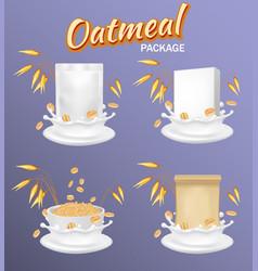 oatmeal package mockup set realistic vector image