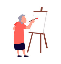 Old woman paints on canvas art therapy studio for vector