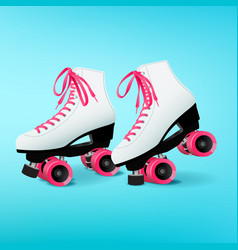 pair of white roller skates with pink shoelaces on vector image