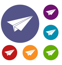 Paper airplane icons set vector