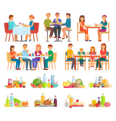 people having dinner or breakfast eating food set vector image