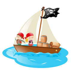pirates sailing at sea vector image