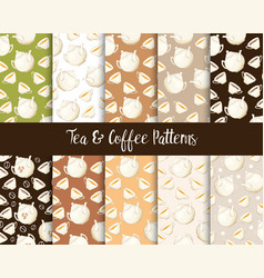 porcelain teapot and tea cup seamless patterns set vector image