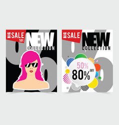 Poster for big sale with woman head design vector