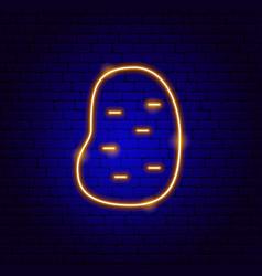 Potato neon sign vector