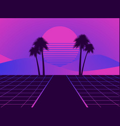 retro futuristic landscape with palm trees neon vector image