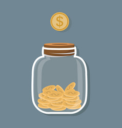 saving flat coin in jar concept vector image