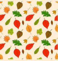 seamless pattern with autumn outline leaves of vector image