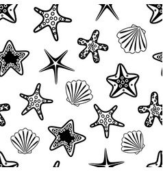 seamless pattern with black seashells and vector image